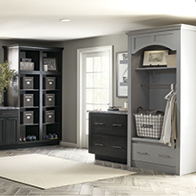 Cotter laundry room cabinets in dark and light shades of gray