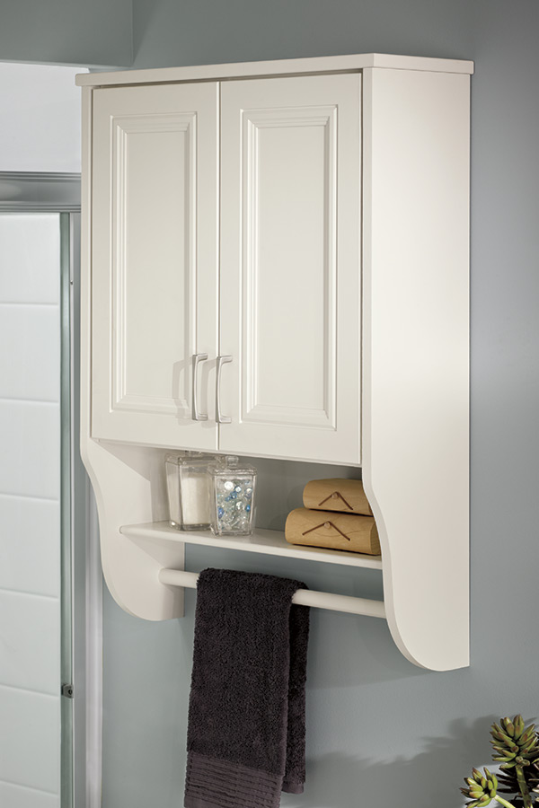 Vanity Wall Towel Bar Kemper Cabinetry, White Over The Toilet Cabinet With Towel Bar