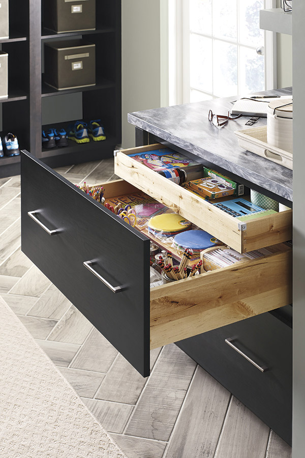 Two Drawer Base Cabinet With Roll Tray Kemper