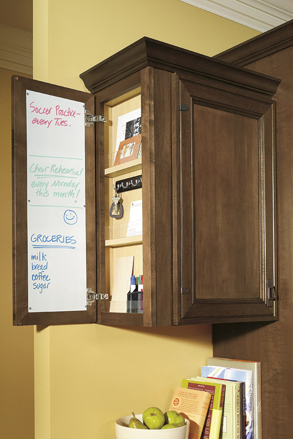 Wall message center cabinet