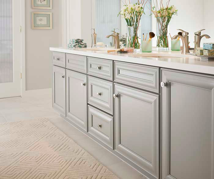Gray bathroom cabinets kemper cabinetry for Grey bathroom cupboard
