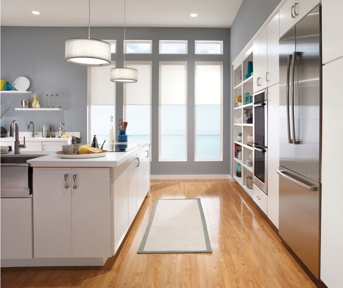 Contemporary white kitchen cabinets by Kemper Cabinetry