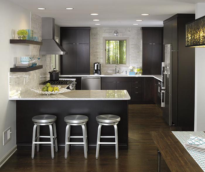 Interior Dark Chocolate Kitchen Cabinets maple kitchen cabinets kemper cabinetry caprice with chocolate finish