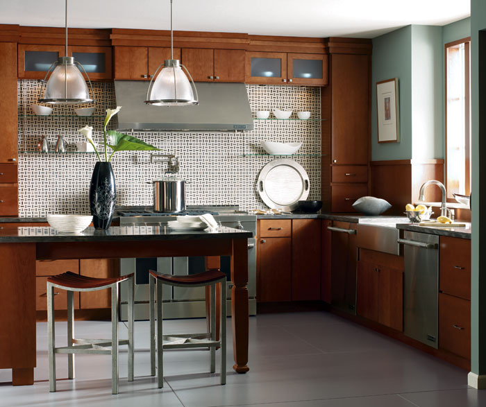 Kitchen with Cherry cabinets by Kemper Cabinetry