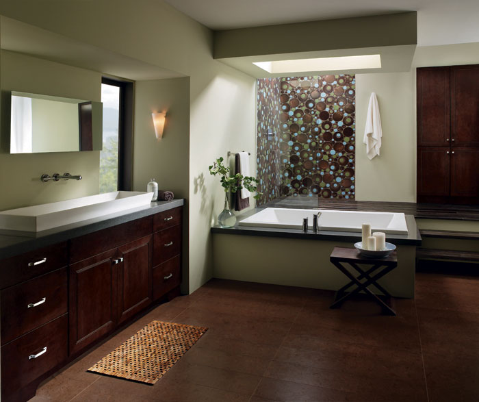 Bathroom With Chocolate Maple Cabinets By Kemper Cabinetry ...