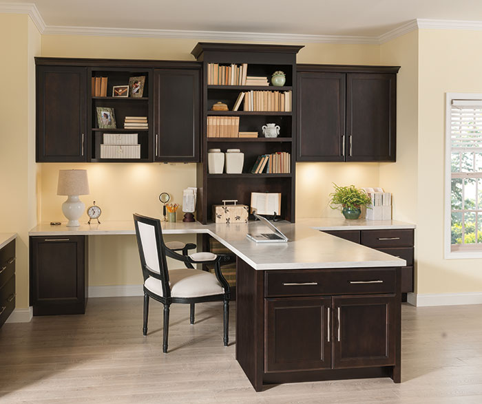 Chocolate Cabinets in a Home Office
