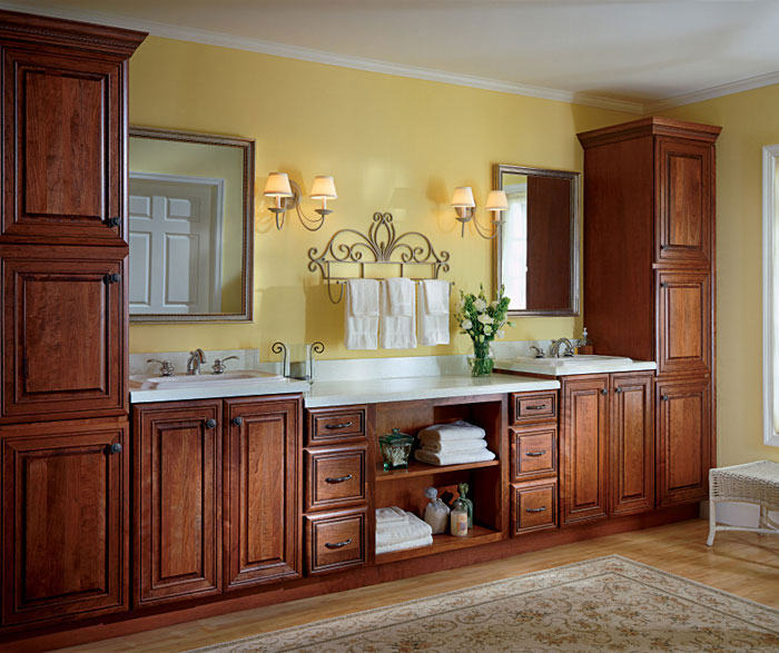 cherry cabinets bathroom cherry bathroom cabinets kemper cabinetry 13492