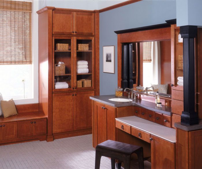 Maple bathroom cabinets by Kemper Cabinetry