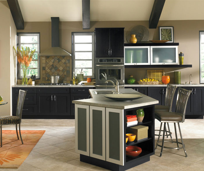 Black kitchen cabinets by Kemper Cabinetry