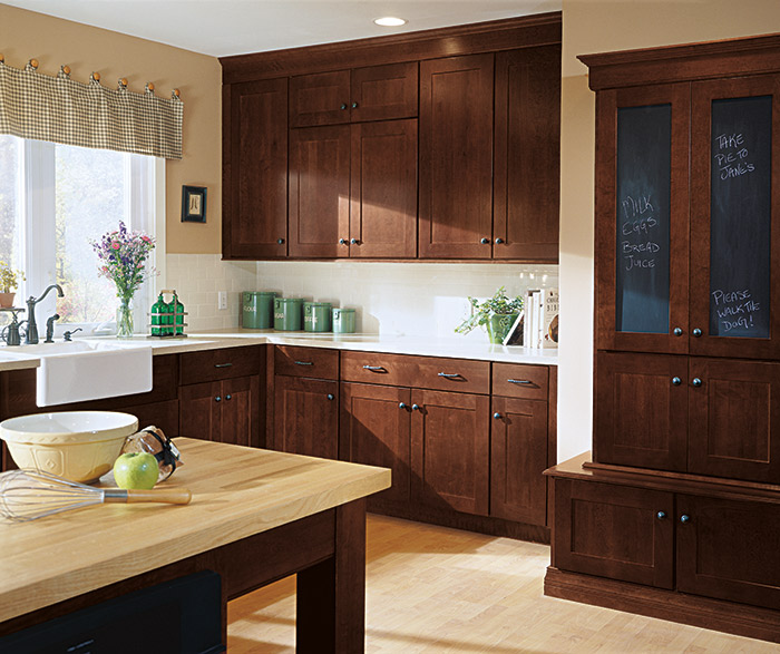 Beautiful Shaker Style Kitchen Cabinets In A Dark Cherry Henna Finish