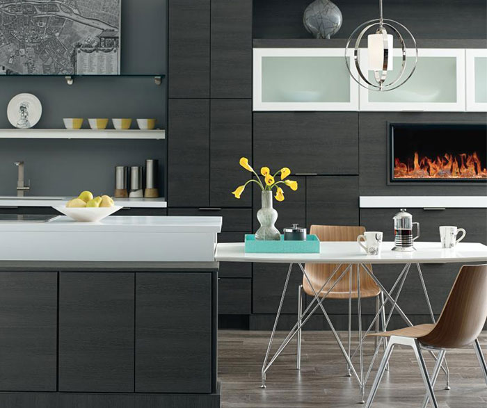 Contemporary kitchen with woodgrain laminate cabinets in Obsidian
