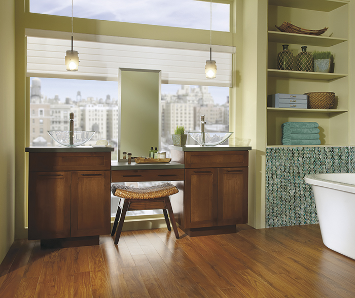 Whitman shaker style double vanity cabinet in alder brierwood
