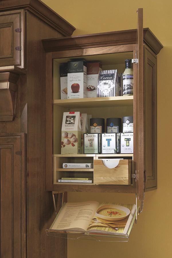 Cookbook recipe organizer cabinet