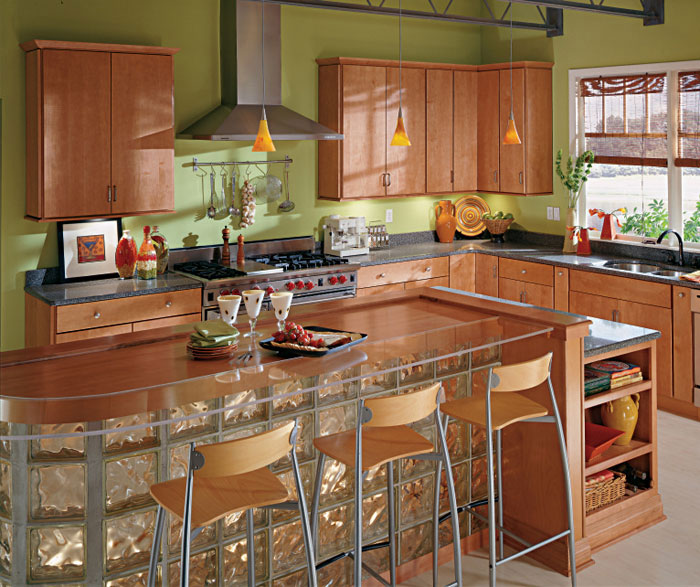 Light Maple kitchen cabinets by Kemper Cabinetry