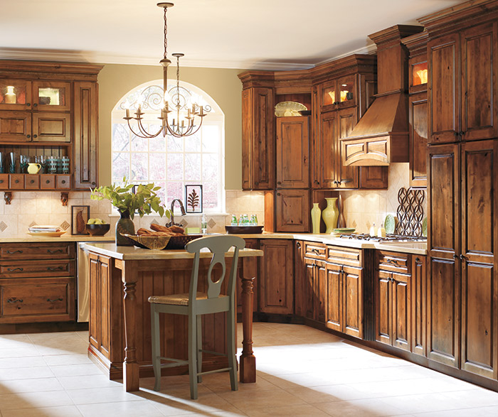 Gallatin Alder kitchen cabinets in Whiskey Black finish