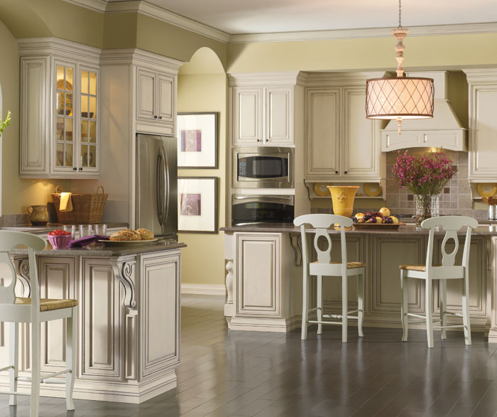 Cream cabinets with glaze by Kemper Cabinetry