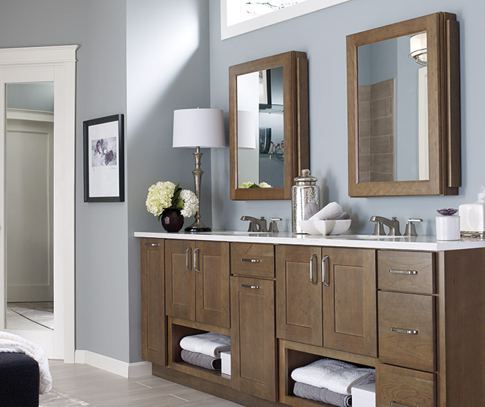 Larsen Shaker style bathroom cabinets in Cherry Morel