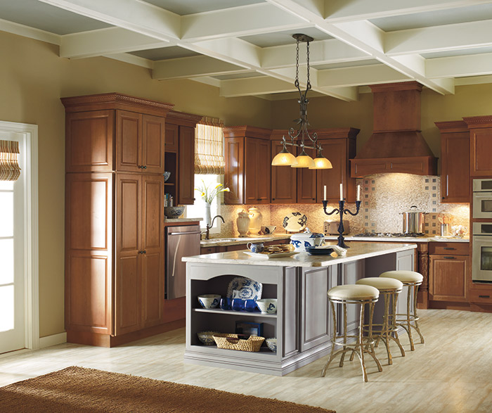 Rennie Cherry cabinets with a Maple painted kitchen island