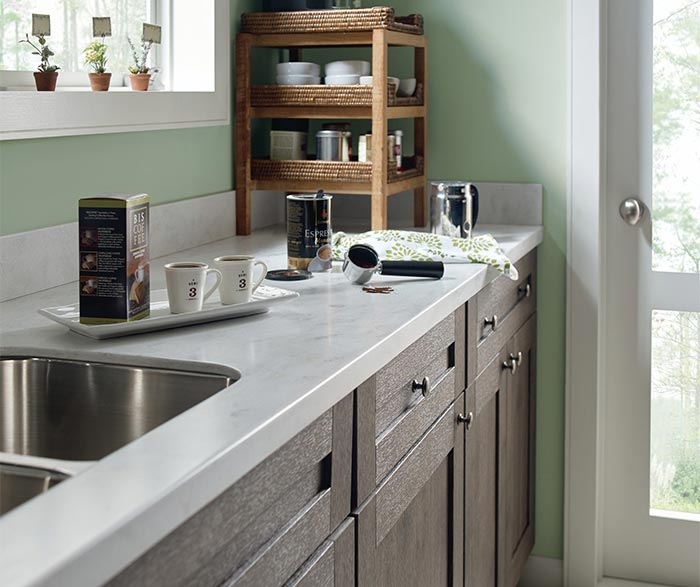 Close up of Shafer Laminate kitchen cabinets in Elk finish