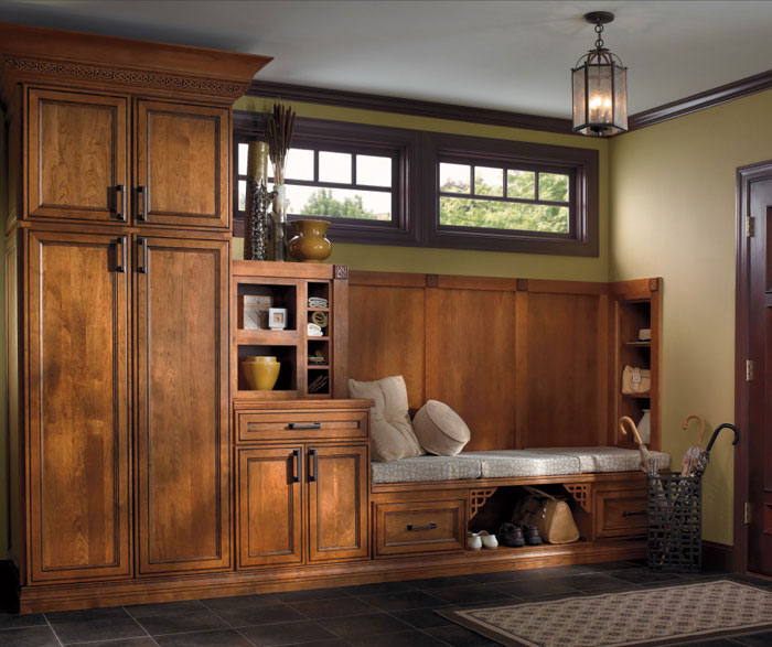 Rustic entry way cabinets by Kemper Cabinetry