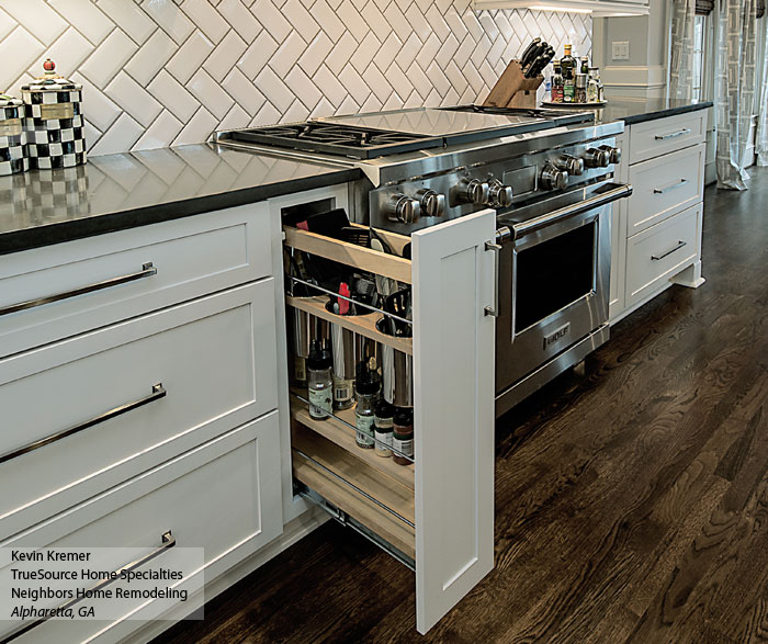 White shaker cabinets with a large kitchen island